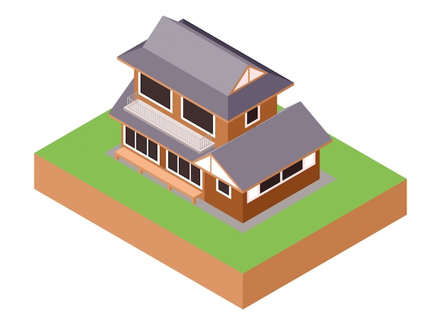 Isometric east asian traditional wooden living family house building