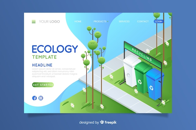 Isometric ecology landing page template