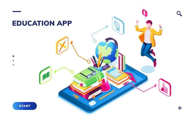 オンライン学校、デジタルカレッジ、または図書館のスマートフォンアプリケーション用の等長教育バナーまたは等長ランディングページ。男、地球、本、ウェビナーやチュートリアル用の電話、勉強。教える