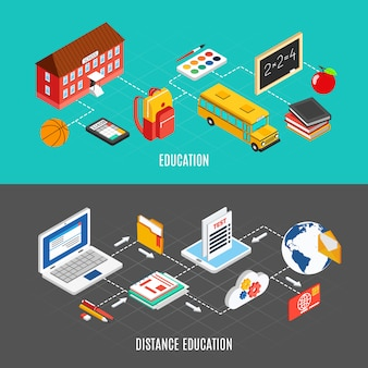 Isometric education banners set
