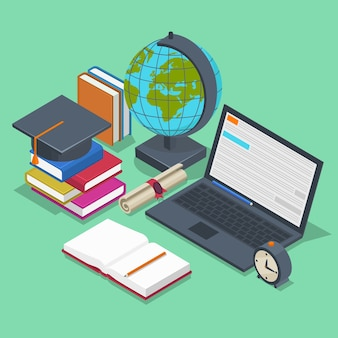 Концепция изометрического образования. 3d обратно в школу фон в плоский. предметный карандаш, элемент для урока, книга и ноутбук
