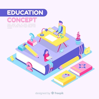 Isometric education concept background