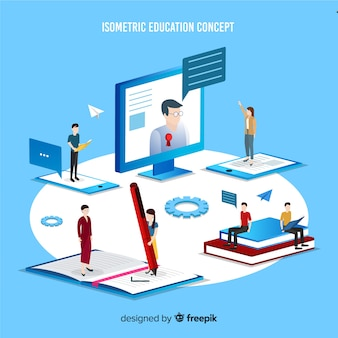 Isometric education concept illustration