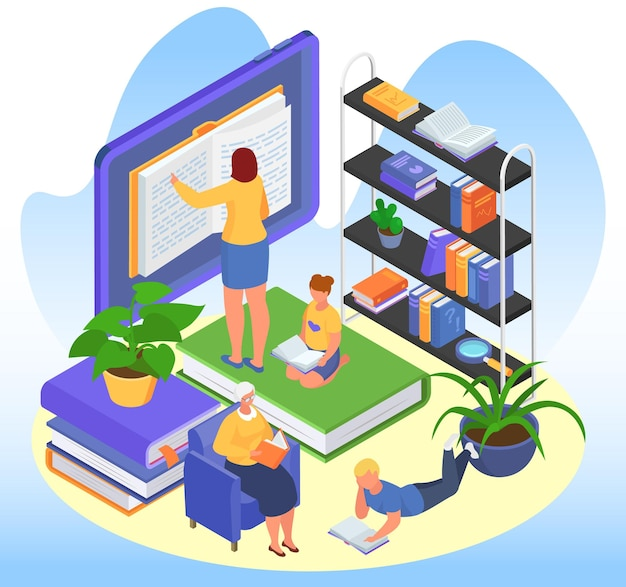 Isometric education concept, vector illustration. tiny man woman character read book in library, get school knowledge at tablet. old person learning at armchair, student reading literature.