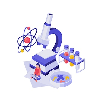 Isometric education concept with 3d science equipment and student illustration