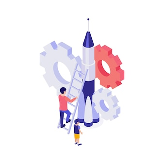 Isometric education concept with character working on rocket illustration