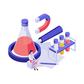 Isometric education concept with equipment for chemical experiment illustration