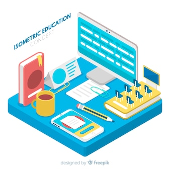 Isometric education concept