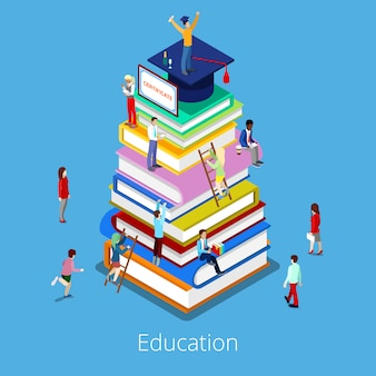 Isometric education graduation concept with stack of books and students.