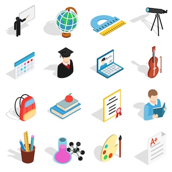 Isometric education icons set. universal education icons to use for web and mobile ui, set of basic education elements isolated vector illustration