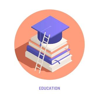 Illustrazione di educazione isometrica con libri