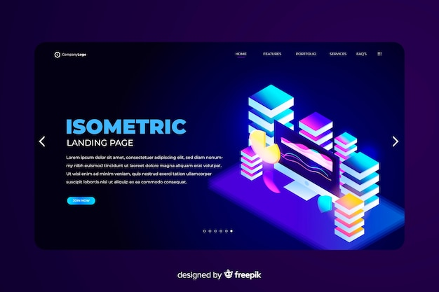 Isometric education landing page template
