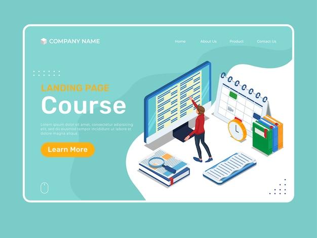 学生との等尺性教育のランディングページは、コンピューター画面で学業を行っています。