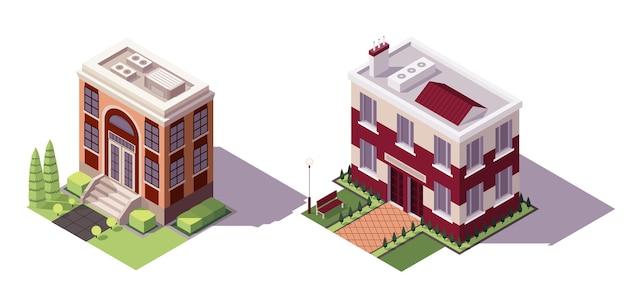 Набор изометрических учебных зданий. набор иконок исторических образовательных зданий современного города архитектуры.
