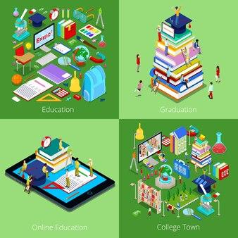 Изометрические образовательной концепции. образование онлайн, колледж таун, выпускной с кепкой и студентами. 3d плоская иллюстрация