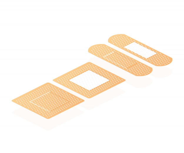 Isometric elastic medical plasters. adhesive bandage, called a sticking plaster collection