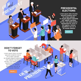 Isometric election banners with images of debates and voting human characters editable text and more button