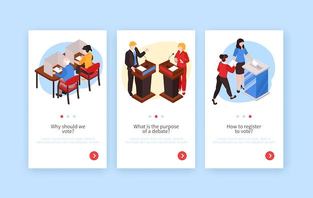유권자 정치인 편집 가능한 텍스트 및 페이지 버튼의 인간 캐릭터로 설정된 아이소 메트릭 선거 수직 배너