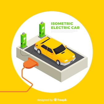 Isometric electric car background