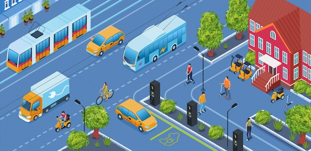 Isometric electric transport on the city illustration