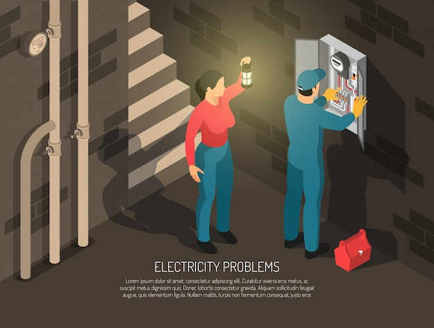 Isometric electrician people with indoor basement composition human characters of worker and host with text vector illustration