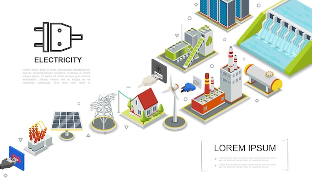 Isometric electricity concept with hydroelectric and fuel power stations biomass energy factory gas holder house windmill solar panel electric transformer  illustration