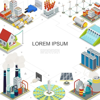 Isometric electricity and energy template with hydroelectric geothermal fuel nuclear power stations solar panels windmills gas holders plugs sockets electric transformer  illustratrion