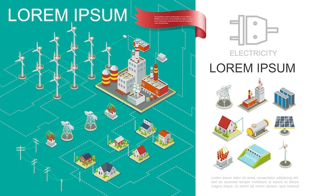Isometric electricity production composition with nuclear and hydroelectric power stations windmills electric towers transmission energy storage solar panel houses  illustration
