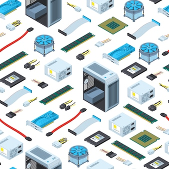 Isometric electronic devices pattern