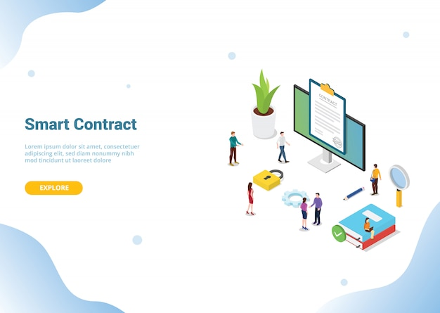 Isometric electronic digital contract concept for website template landing homepage