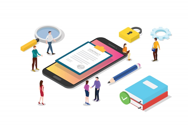 Isometric electronic digital contract concept with team people and contracts document