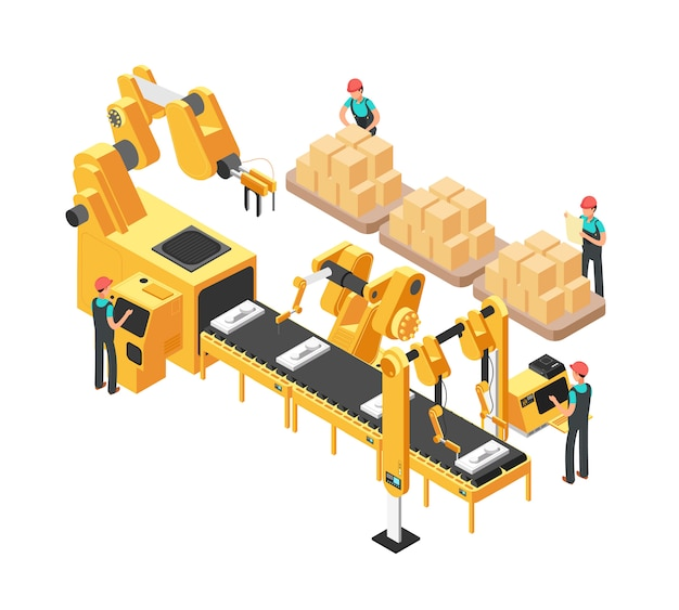 Isometric electronic factory with conveyor assembly line, operators and robots. 3d vector illustration