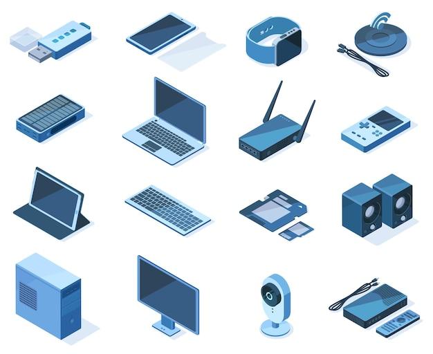 アイソメトリック電子技術3dワイヤレスガジェットデバイス。ネットワーク技術機器、ラップトップ、スマートフォン、スマートウォッチベクトルイラストセット。ワイヤレスアイソメトリックガジェット
