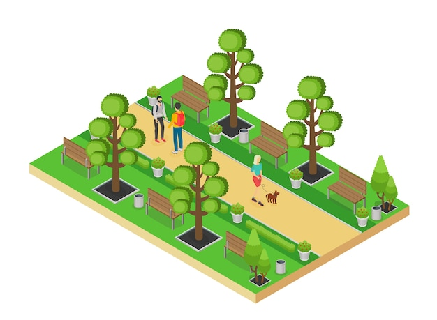Isometric element of green park with alley and people walking isolated on white background