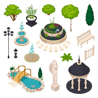 Isometric elements for city landscape