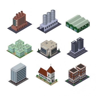 Isometric elements cityscape