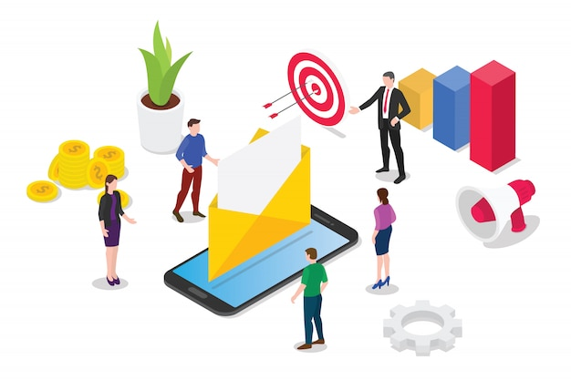 Isometric email service or services concept