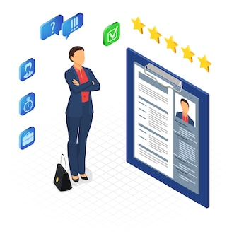 Isometric employment, recruitment and hiring concept. job agency human resources. job seeker woman and resume. isolated