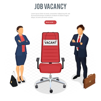 Isometric employment, recruitment and hiring concept. job agency human resources. job seekers, applicants for position and office chair with sign vacant. isolated vector illustration