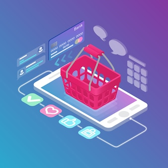 Isometric empty shopping basket on gadget