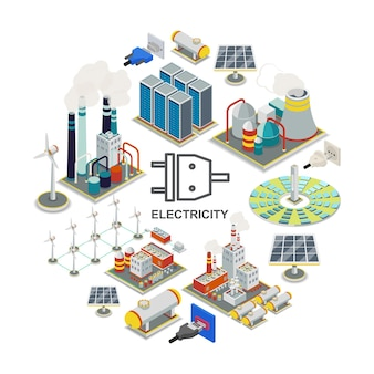 Isometric energy round concept with geothermal fuel and nuclear power stations electrical plugs sockets windmills solar panels energy storage gas holders  illustration