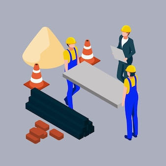 Isometric engineers working on construction