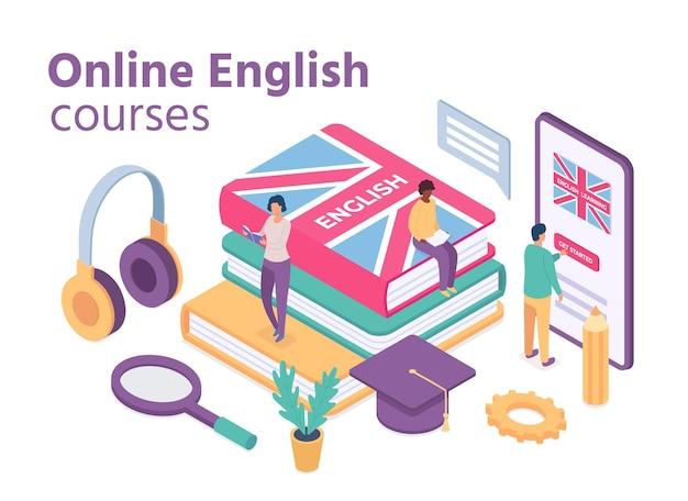 等尺性英語コース。学生がいるオンライン外国語学校は語彙と本を読むことを学びます。遠隔教育ベクトルの概念。イラスト教育オンライン、英語コース