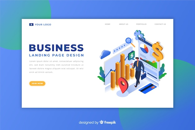Isometric enterprise landing page
