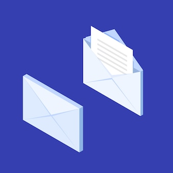 Значок уведомления изометрический конверт