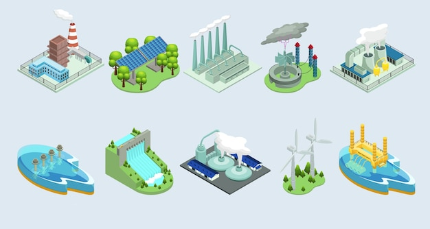 Piante ecologiche ambientali isometriche con fabbriche