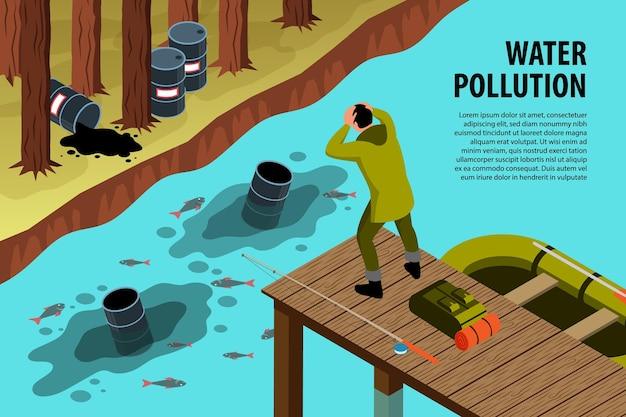 Fondo orizzontale isometrico di inquinamento ambientale con testo modificabile e fiume ben rifornito inquinato da bidoni della spazzatura