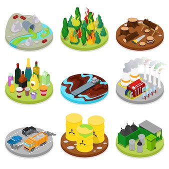 Isometric environmental pollution set