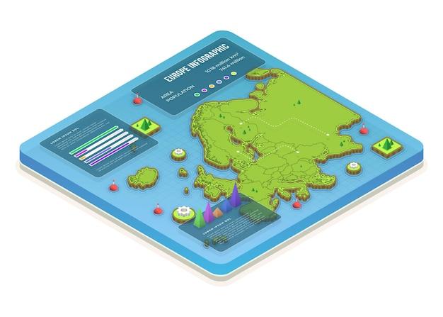 Mappa isometrica europa infografica