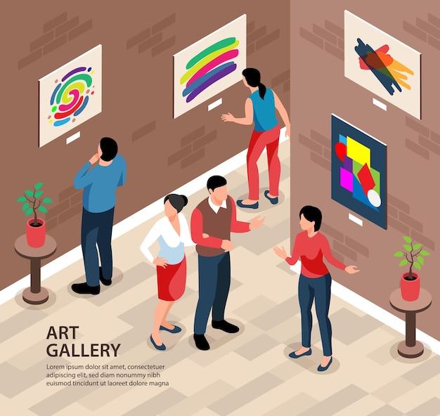 편집 가능한 텍스트와 사람과 그림이있는 실내 풍경이있는 아이소 메트릭 전시 갤러리 배경 사각형 구성